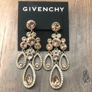 New Givenchy crystal teardrop chandelier earrings